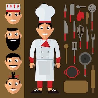 Chef e acessórios de cozinha em estilo design plano