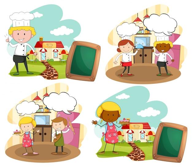Chef e padeiros na ilustração do local de trabalho