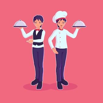 Chef e sous chef segurando a bandeja