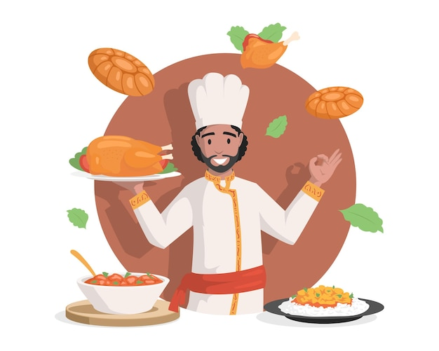 Chef em roupas indianas vector ilustração plana saboroso delicioso indiano