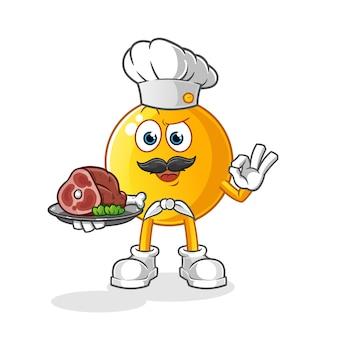 Chef emoticon com ilustração de mascote de carne