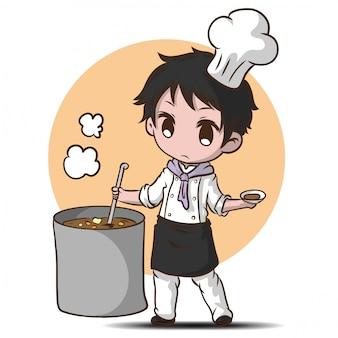 Chef engraçado de bonito dos desenhos animados.