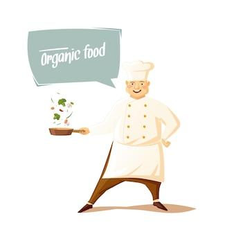 Chef engraçado dos desenhos animados com um chapéu de chef com panela e legumes em um fundo branco com texto em bolha alimentos orgânicos. ilustração.