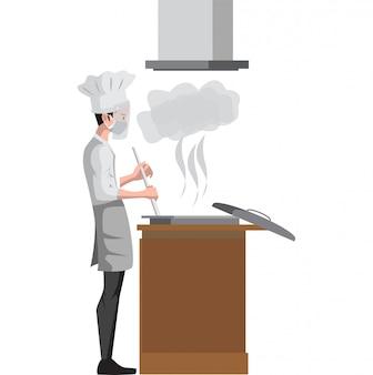 Chef está cozinhando na ilustração a cozinha