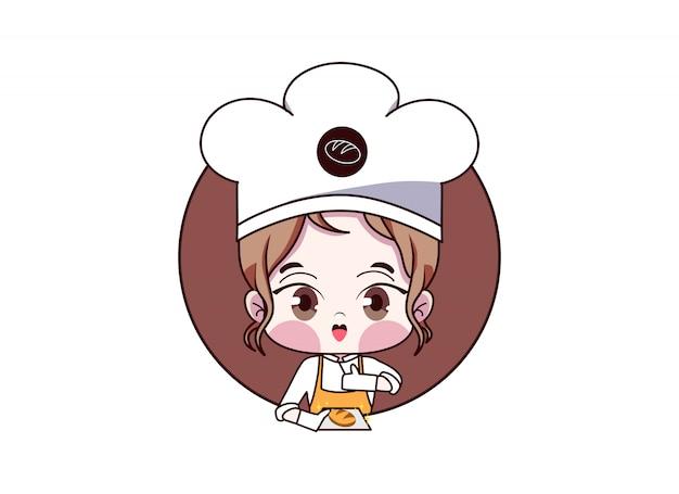 Chef feminino. desenho de logotipo de loja de padaria kawaii linda garota. menina padeiro com pão