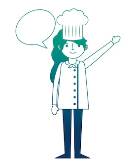 Chef feminino personagem feminina com bolha do discurso de chapéu