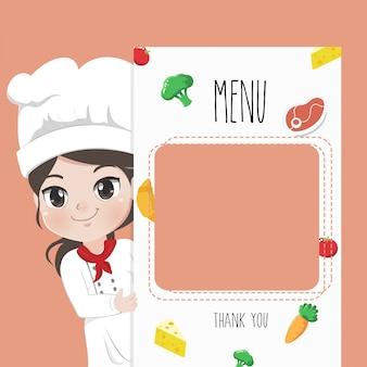 Chef feminino recomenda menu de comida,