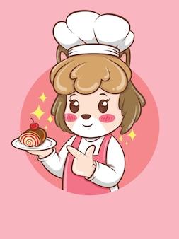 Chef fofo cachorro segurando um bolo. conceito do chef de padaria. personagem de desenho animado e ilustração do mascote.