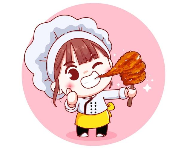 Chef fofo com ilustração de desenho animado de carne de porco com leite grelhado no espeto
