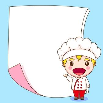 Chef fofo com ilustração de desenho em papel em branco