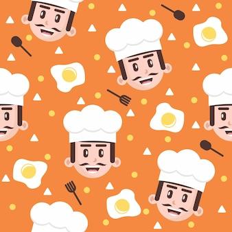 Chef fofo com ilustrações de padrão de ovo