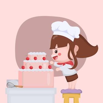 Chef fofo de mulher cozinhando bolo