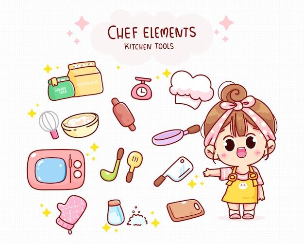 Chef fofo e elementos de cozinha