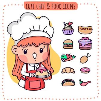 Chef fofo e ícones de comida