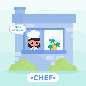 Chef fofo fazendo campanha para ficar em casa para evitar o conceito de personagem de desenho animado de vírus