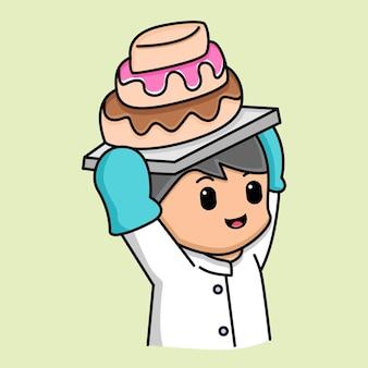 Chef fofo segurando um desenho de bolo