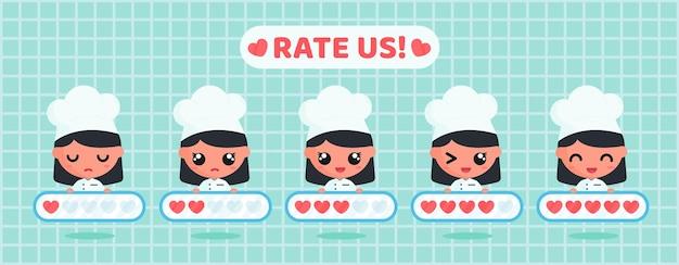 Chef fofo segurando uma placa de avaliação de coração para pesquisa de satisfação do cliente sobre serviço de restaurante e comida