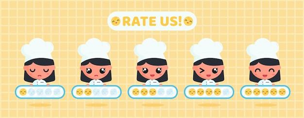 Chef fofo segurando uma placa de avaliação de sorriso para pesquisa de satisfação do cliente em serviços de restaurante