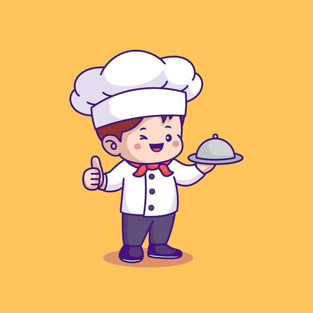 Chef fofo servindo prato