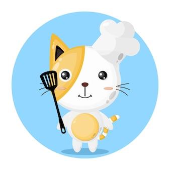 Chef gato personagem fofo
