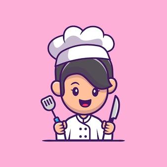 Chef girl com faca e ilustração do ícone dos desenhos animados da espátula. conceito de ícone de profissão de pessoas isolado. estilo flat cartoon