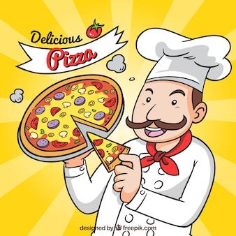 Chef italiano com fundo de pizza