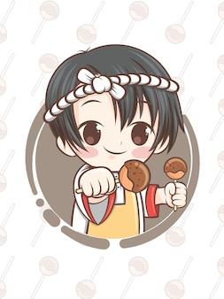 Chef japonês bonito apresentando comida takoyaki - personagem de desenho animado.