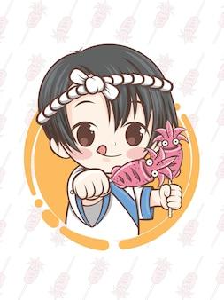 Chef japonês fofo apresentando comida de lula grelhada, ikayaki - personagem de desenho animado.