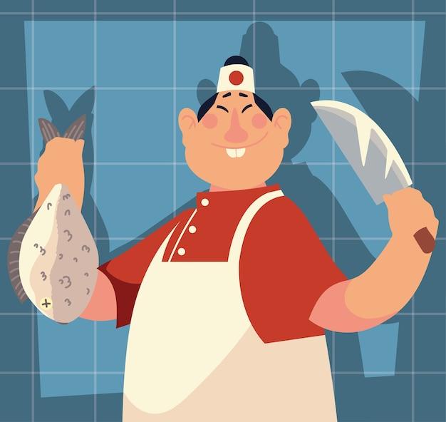 Chef japonês segurando peixe e faca, azul com ilustração de sombra