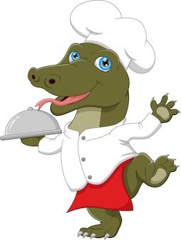 Chef komodo carregando bandeja de comida