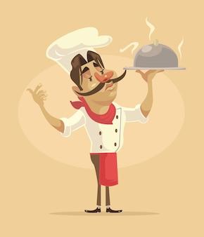 Chef man personagem segurar o prato.