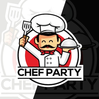 Chef mascote esport estilo design de logotipo