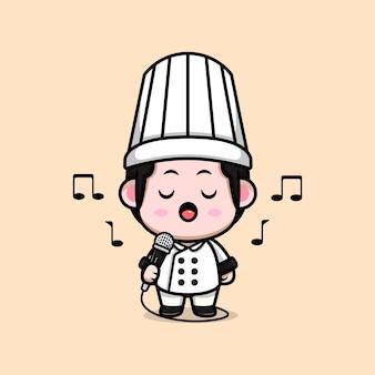 Chef masculino fofo cantando na ilustração do mascote do desenho do microfone