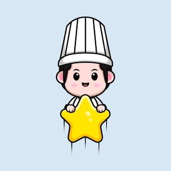 Chef masculino fofo flutuando com ilustração do mascote do desenho animado