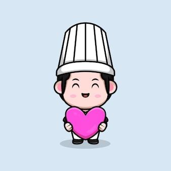Chef masculino fofo segurando uma ilustração do mascote do desenho animado