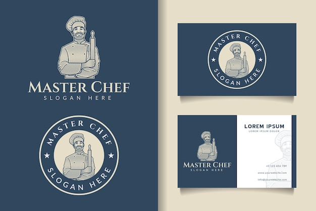 Chef master gravura logotipo vintage e modelo de cartão de visita