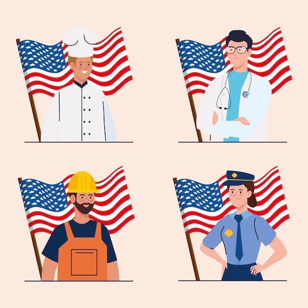 Chef médico construtor e polícia com bandeiras dos eua