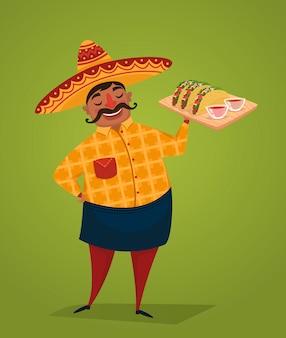 Chef mexicano com tacos