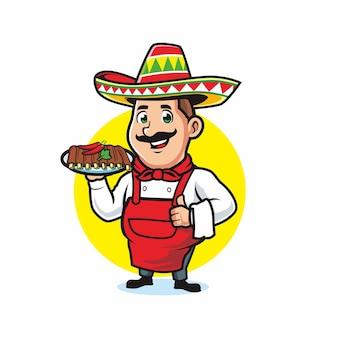 Chef mexicano usando sombrero servindo costela