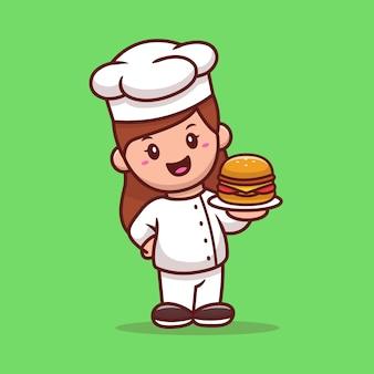 Chef mulher com desenho animado de hambúrguer