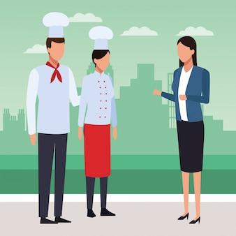 Chef mulher e homem e mulher de negócios permanente