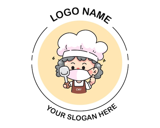 Chef mulher segurando o logotipo da turner. ilustração da arte dos desenhos animados