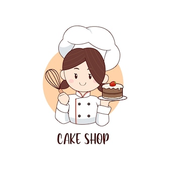 Chef pequena segurando modelo de logotipo de bolo de chocolate e morango