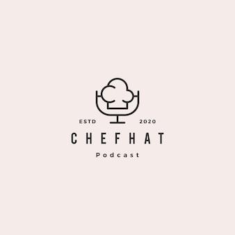 Chef podcast logo hipster retro vintage icon for food cooking restaurant blog vídeo vlog review channel