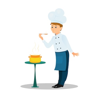 Chef profissional com uma colher e panela de sopa em cima da mesa. estilo dos desenhos animados.