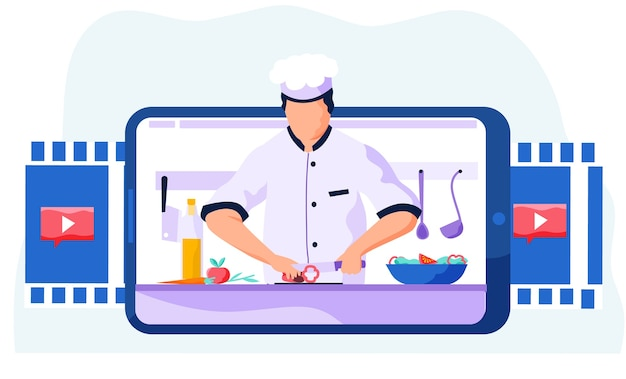 Chef profissional corta pimentão em uma tábua para a salada
