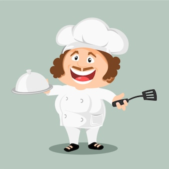 Chef pronto para cozinhar.