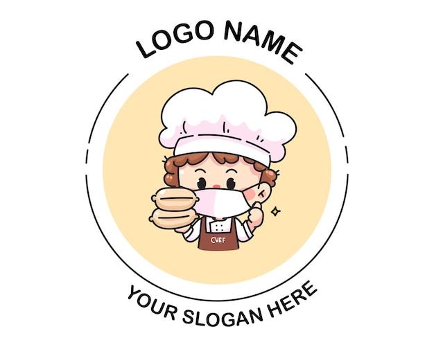 Chef segurando o logotipo da caixa de comida. ilustração da arte dos desenhos animados
