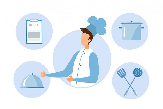 Chef sem rosto e utensílios de cozinha em rodadas