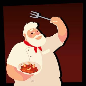 Chef sênior segurando ilustração vetorial de restaurante para cozinhar sopa e garfo